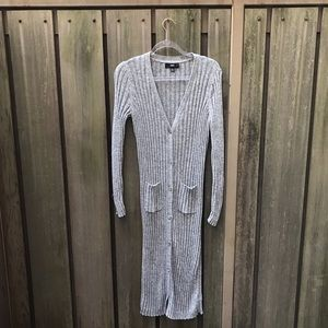 MOSSIMO Long Grey Long Sleeve Button Down Dress